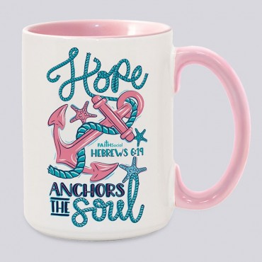 Anchors the Soul 15 OZ Color Interior/Color Handle Mug