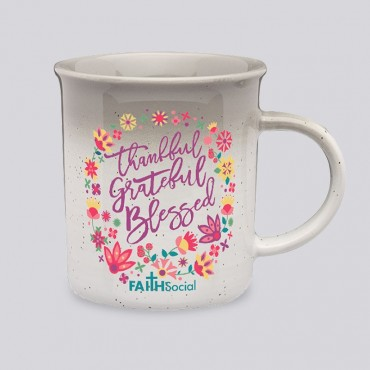 Unique Motivational Coffee Mug - Thankful Grateful Blessed