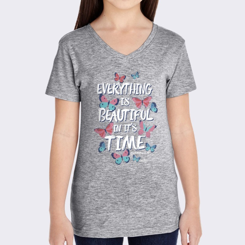 Yth Girls Everything is Beautiful V-Neck Short Sleeve Tee