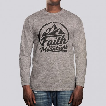 Adult Faith Can Move Mountains Long Sleeve Tee