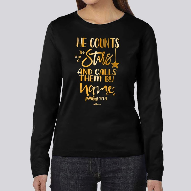 Ladies He Counts the Stars Slouchy Long Sleeve