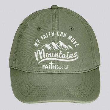 Faith Can Move Mountains Dyed Canvas Cap