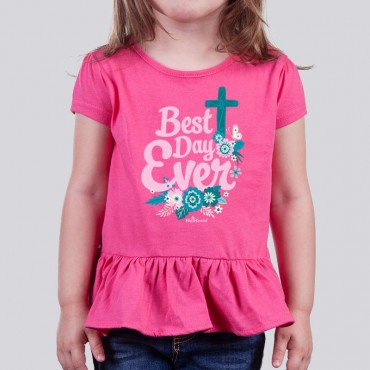 Toddler Girls Best Day Ever Ruffle Tee
