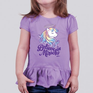 Toddler Girls Believe in Miracles Ruffle Tee