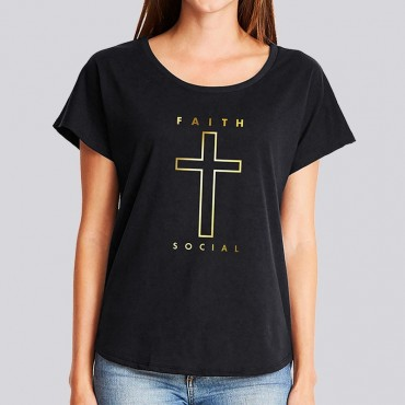 Ladies Dolman Tee With Faith Social Logo