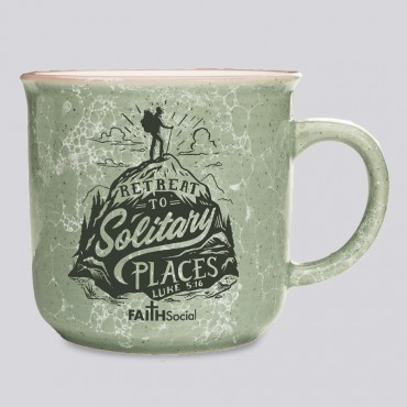 Scripture Coffee Mug: Retreat to Solitary Places. Bible Verses Luke 5:16