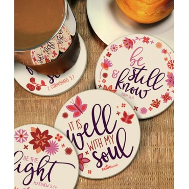 4-Pack Floral Verse Round Ceramic Coasters