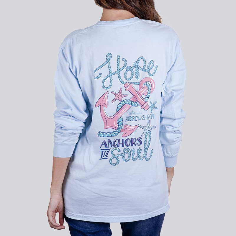 Ladies Anchors The Soul Garment Dyed Long Sleeve Tee