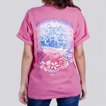 Ladies Seek Peace Garment Dyed Short Sleeve Tee