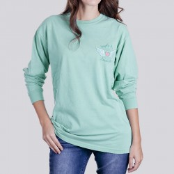 Ladies Angels Watching Garment Dyed Long Sleeve Tee