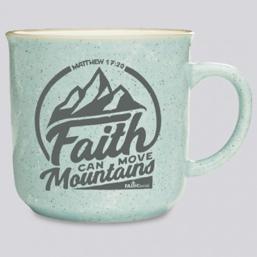 Campfire Coffee Mug With Bible Verse: Faith Can Move Mountains