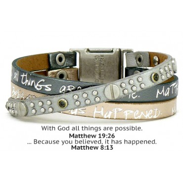 Leather Scripture Bracelet - Matthew 8:13