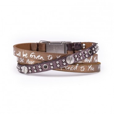 Jesus leather Bracelet: Matthew 7:7